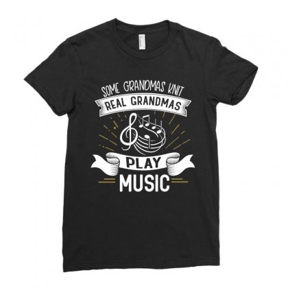 Grandmother Knit Music Design Ladies Fitted T-shirt Designed By Cogentprint