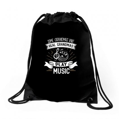 Grandmother Knit Music Design Drawstring Bags Designed By Cogentprint