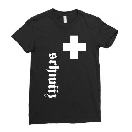 Fan, Swiss Cross, Switzerland, New Ladies Fitted T-shirt Designed By H4syim
