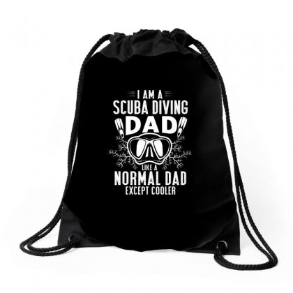 Scuba Dad Diver Design Drawstring Bags Designed By Cogentprint