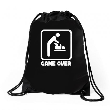 Game Over Daddy Funny Drawstring Bags Designed By H4syim