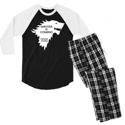 Winter Is Coming   House Stark Men's 3/4 Sleeve Pajama Set Designed By H4syim