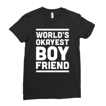 World's Okayest Boyfriend Couple Love Funny Ladies Fitted T-shirt Designed By H4syim