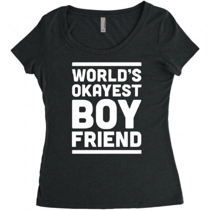 World's Okayest Boyfriend Couple Love Funny Women's Triblend Scoop T-shirt Designed By H4syim