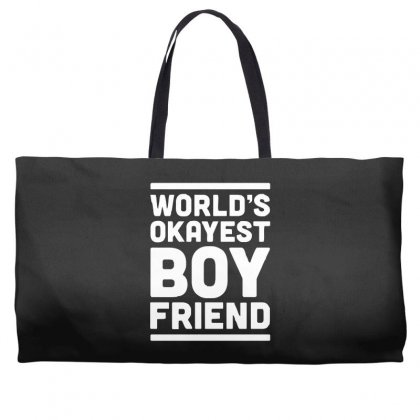 World's Okayest Boyfriend Couple Love Funny Weekender Totes Designed By H4syim