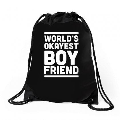 World's Okayest Boyfriend Couple Love Funny Drawstring Bags Designed By H4syim