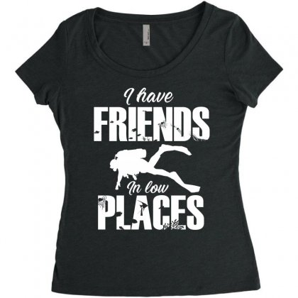 Friends In Low Places Diver Design Women's Triblend Scoop T-shirt Designed By Cogentprint