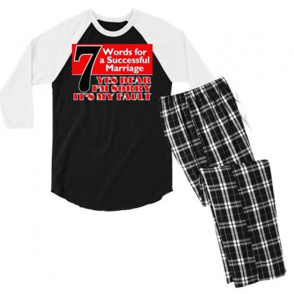 Funny  7 Words For Marriage, Ideal Gift, Birthday Present Men's 3/4 Sleeve Pajama Set Designed By H4syim