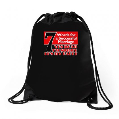 Funny  7 Words For Marriage, Ideal Gift, Birthday Present Drawstring Bags Designed By H4syim