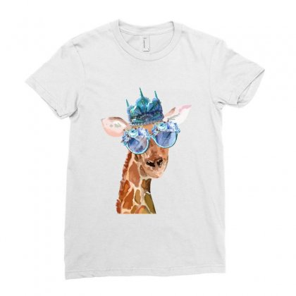 Watercolor Giraffe Ladies Fitted T-shirt Designed By Nurbetulk