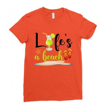 Life's A Beach For Light Ladies Fitted T-shirt Designed By Nurbetulk