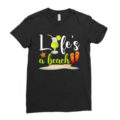 Life's A Beach For Dark Ladies Fitted T-shirt Designed By Nurbetulk