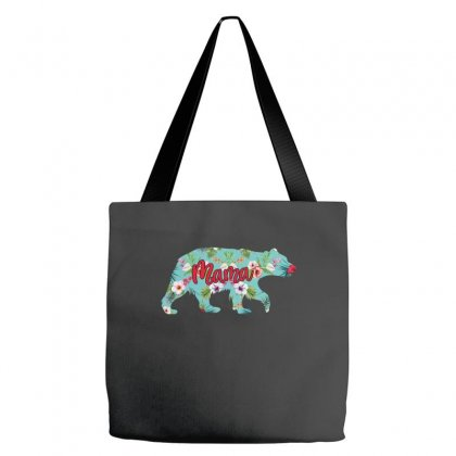 Mama Bear Blue Floral Tote Bags Designed By Sengul