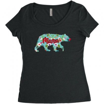 Mama Bear Blue Floral Women's Triblend Scoop T-shirt Designed By Sengul