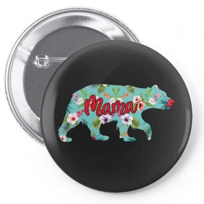 Mama Bear Blue Floral Pin-back Button Designed By Sengul