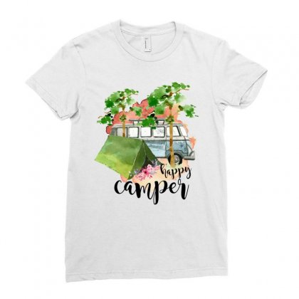 Happy Camper Ladies Fitted T-shirt Designed By Sengul