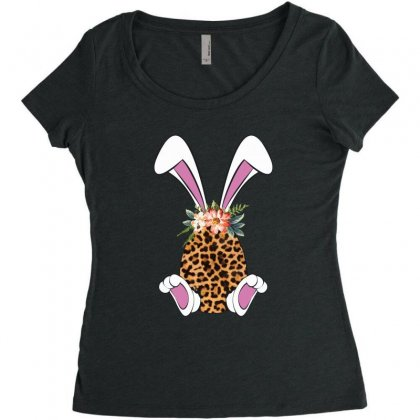 Easter Bunny Leopard Women's Triblend Scoop T-shirt Designed By Sengul