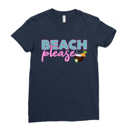 Beach Please Ladies Fitted T-shirt Designed By Nurbetulk