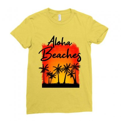 Aloha Beaches Ladies Fitted T-shirt Designed By Nurbetulk