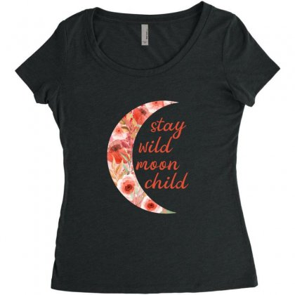 Stay Wild Moon Child Women's Triblend Scoop T-shirt Designed By Sengul
