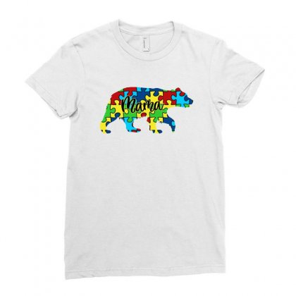 Autism Mama Bear Ladies Fitted T-shirt Designed By Sengul