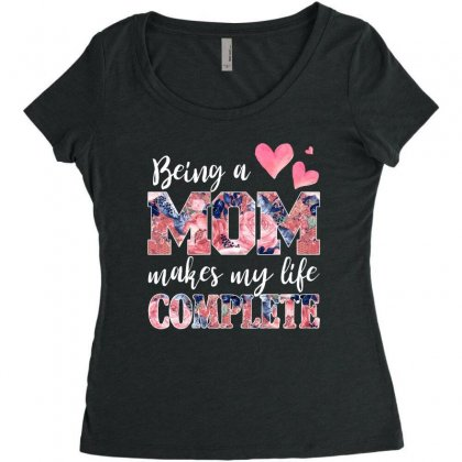 Being A Mom Makes My Life Complete For Dark Women's Triblend Scoop T-shirt Designed By Sengul