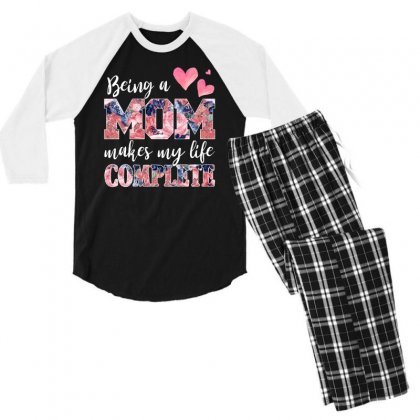 Being A Mom Makes My Life Complete For Dark Men's 3/4 Sleeve Pajama Set Designed By Sengul