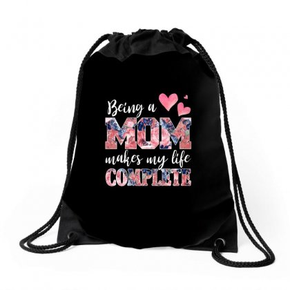 Being A Mom Makes My Life Complete For Dark Drawstring Bags Designed By Sengul