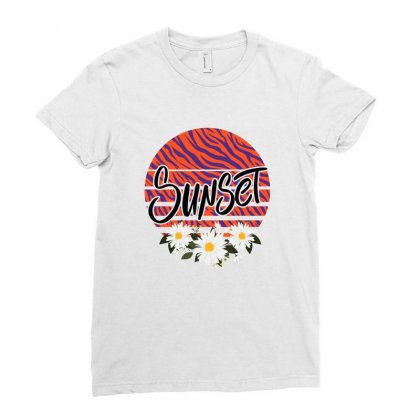 Sunset Ladies Fitted T-shirt Designed By Sengul