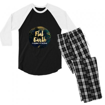 Flat Earth A Journey To The Edge Men's 3/4 Sleeve Pajama Set Designed By Perception