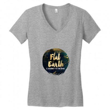 Flat Earth A Journey To The Edge Women's V-neck T-shirt Designed By Perception