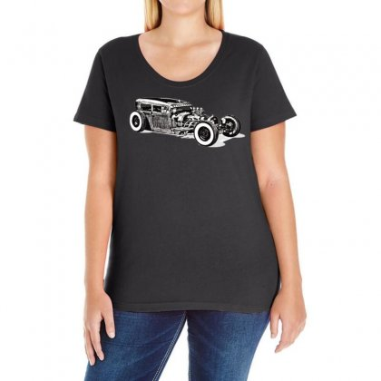 Hot Rod 1, Ideal Birthday Gift Or Present Ladies Curvy T-shirt Designed By H4syim