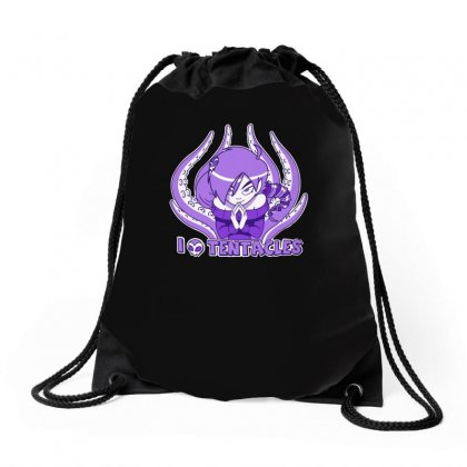 I Love Tentacles Drawstring Bags Designed By H4syim