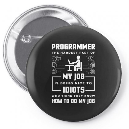 Programmer The Hardest Part Of My Job Is. Being Nice To Idiots Who Thi Pin-back Button Designed By Hung