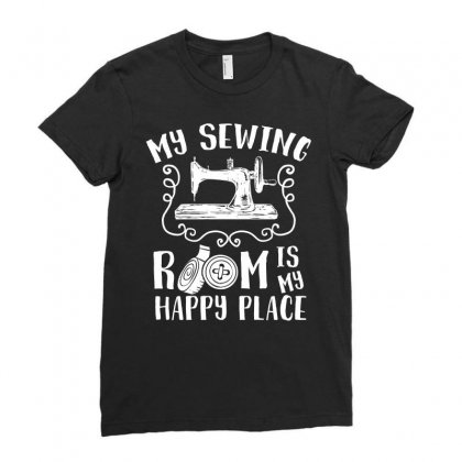 My Sewing Room Is My Happy Place Tshirt Ladies Fitted T-shirt Designed By Hung