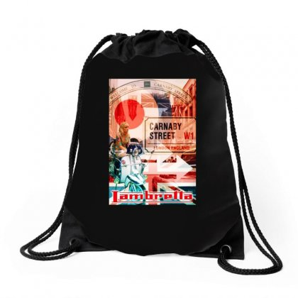 Lambretta Carnaby Street Red Ideal Birthday Present Or Gift Drawstring Bags Designed By H4syim
