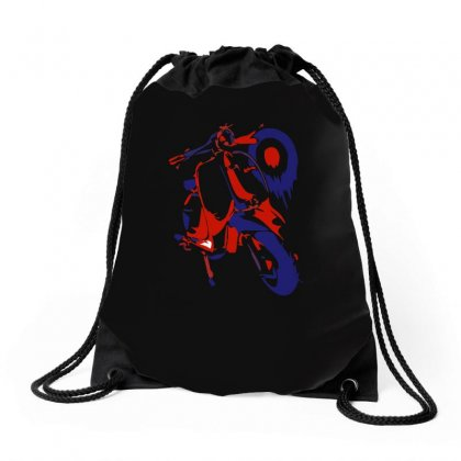 Lambretta Red White & Blue Ideal Birthday Present Gift Drawstring Bags Designed By H4syim