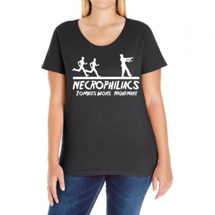 Necrophiliacs Zombies Worst Nightmare Funny Comic Horror Undead Ladies Curvy T-shirt Designed By H4syim