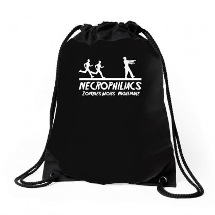 Necrophiliacs Zombies Worst Nightmare Funny Comic Horror Undead Drawstring Bags Designed By H4syim