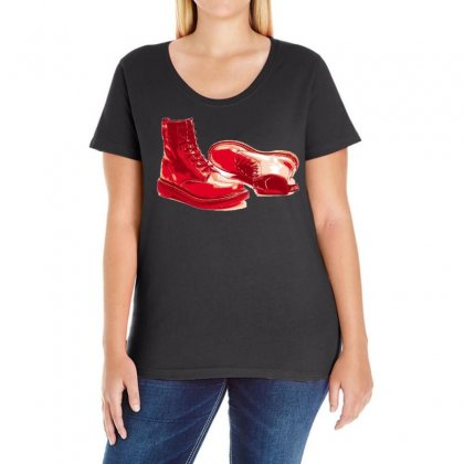 Red Skinhead Bovver Boots Ideal Birthday Gift Or Present Ladies Curvy T-shirt Designed By H4syim