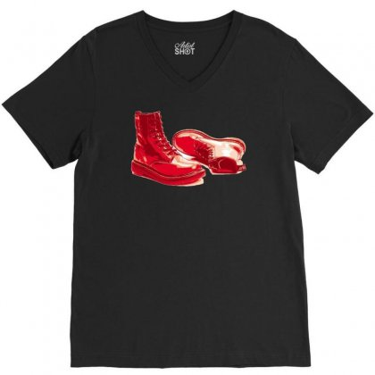 Red Skinhead Bovver Boots Ideal Birthday Gift Or Present V-neck Tee Designed By H4syim