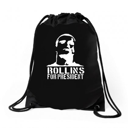 Rollins For President  Funny  Comic Henry Rollins Punk Rock Tv P Drawstring Bags Designed By H4syim