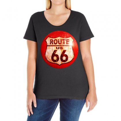 Route 66 Sign Distressed, Ideal Birthday Gift Or Present Ladies Curvy T-shirt Designed By H4syim