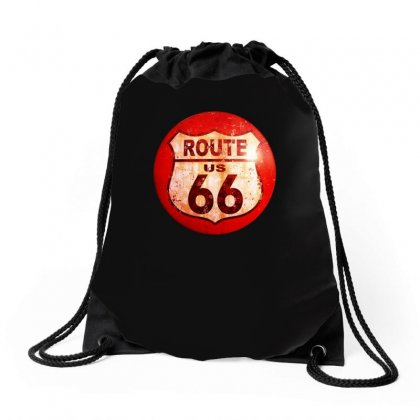 Route 66 Sign Distressed, Ideal Birthday Gift Or Present Drawstring Bags Designed By H4syim