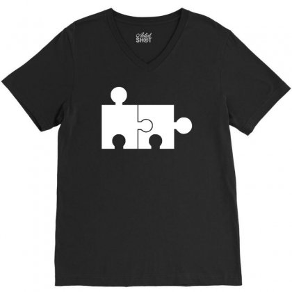 Rude Jigsaw Ideal Birthday Present Or Gift V-neck Tee Designed By H4syim