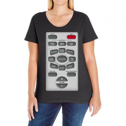 Rude Remote Control, Ideal Funny Birthday Gift Or Present Ladies Curvy T-shirt Designed By H4syim