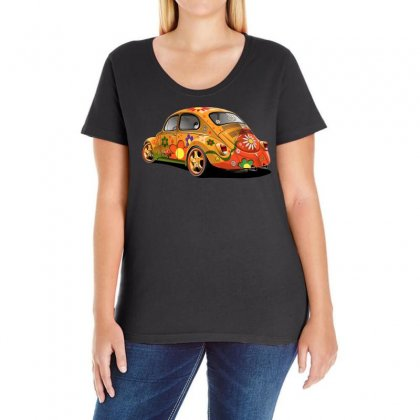 Sixties Vw Beetle, Ideal Gift Or Birthday Present Ladies Curvy T-shirt Designed By H4syim