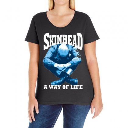 Skinhead A Way Of Life Blue Ideal Birthday Gift Present. Ladies Curvy T-shirt Designed By H4syim