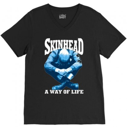 Skinhead A Way Of Life Blue Ideal Birthday Gift Present. V-neck Tee Designed By H4syim