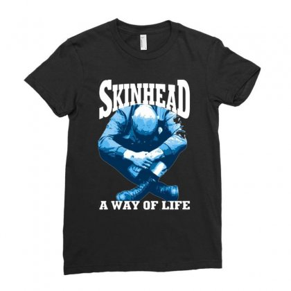 Skinhead A Way Of Life Blue Ideal Birthday Gift Present. Ladies Fitted T-shirt Designed By H4syim